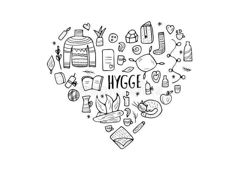 Hyggeconcept Vector geïsoleerde symbolen stock illustratie