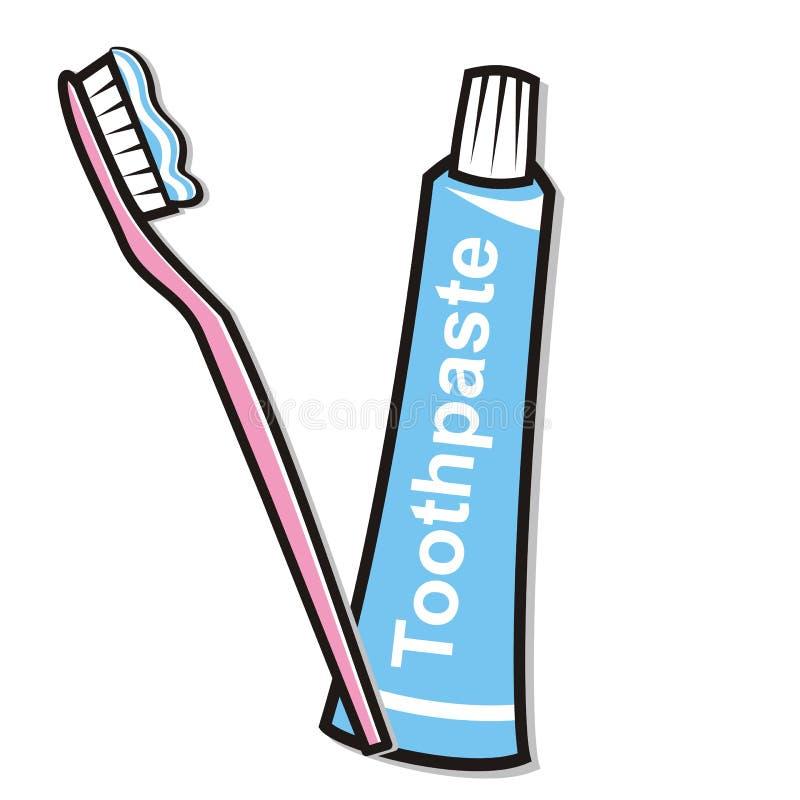 Hygiène dentaire, pâte dentifrice et brosse à dents, illustration de vecteur illustration de vecteur