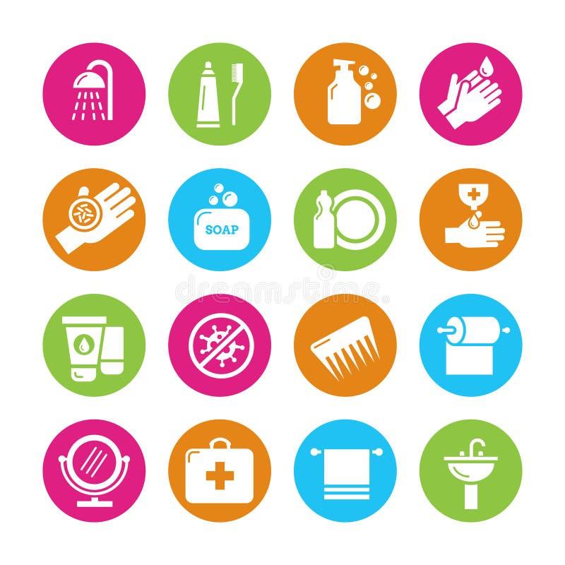 Hygiène, virus et icônes de bacterias illustration stock