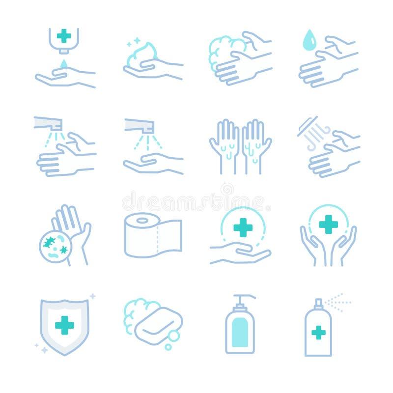 Hygiëne en hygiëne geplaatste pictogrammen royalty-vrije illustratie