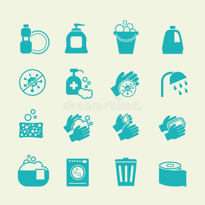 Hygiëne en schoonmakende pictogrammen Wassende antiseptische, persoonlijke thuiszorg vectortekens stock illustratie