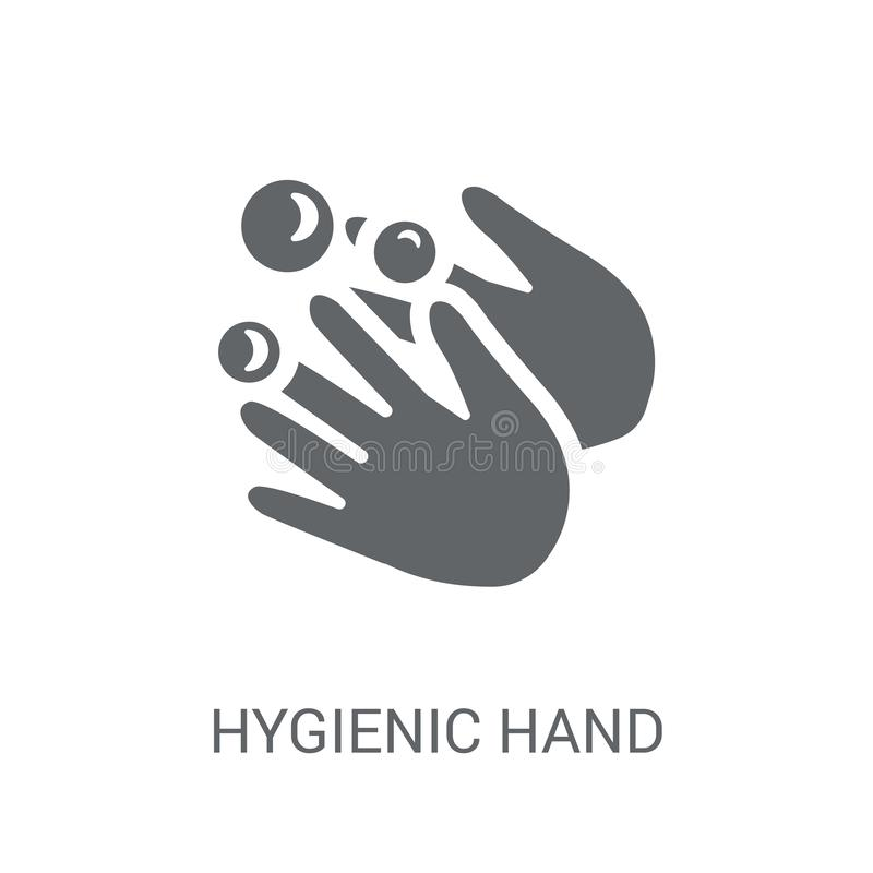 Hygiënisch handpictogram Het in Hygiënische concept van het handembleem op witte B vector illustratie