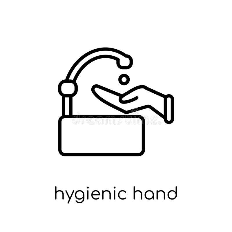 Hygiënisch handpictogram In modern vlak lineair vector Hygiënisch Ha royalty-vrije illustratie