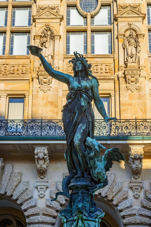 Hygieia fountain in courtyard of Hamburg City Hall or Rathaus. Germany. Hygieia fountain in courtyard of Hamburg City Hall or Rathaus. Hamburg. Germany stock images