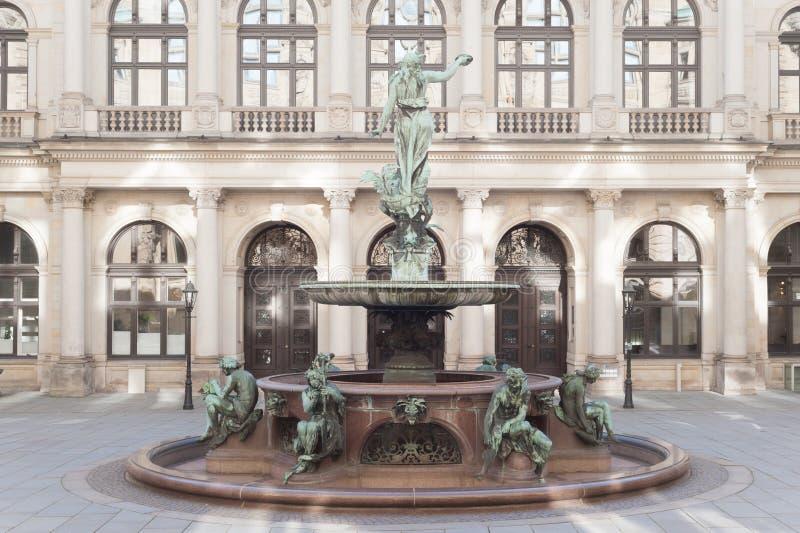 Hamburg Rathaus courtyard and Hygieia Fountain. Hygieia fountain in the courtyard of the Rathaus Hamburg stock photos