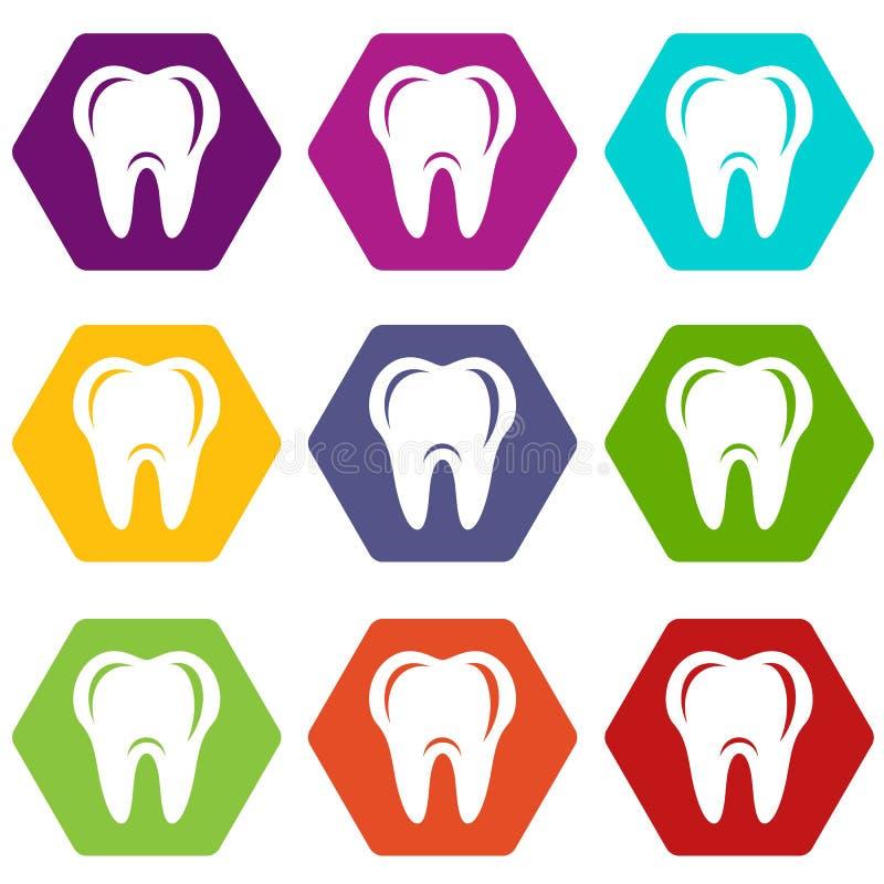 Hygien av tandsymboler ställde in vektor 9 royaltyfri illustrationer