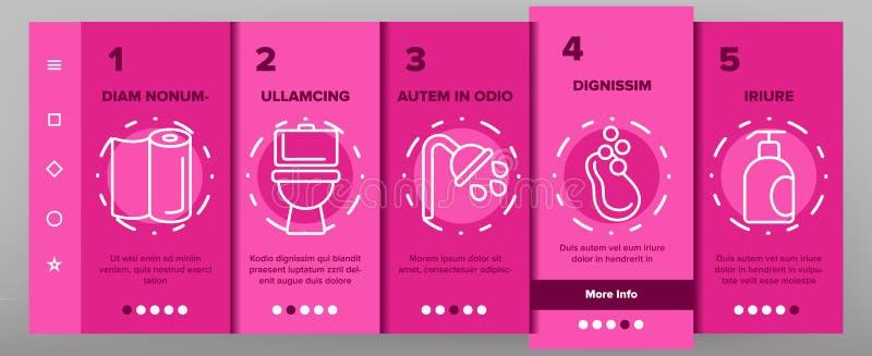 Hygien rengörande tunn linje symbolsvektor Onboarding stock illustrationer