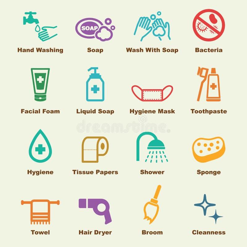 Hygienbeståndsdelar stock illustrationer