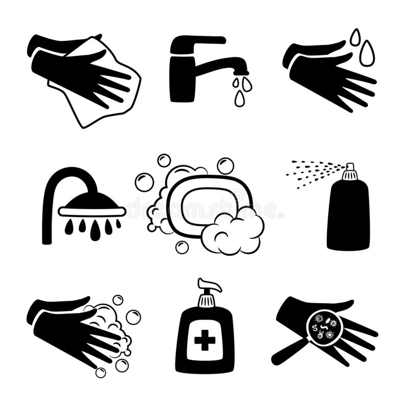 Hygiene black icons. Antiseptic cream and hands washing, antibacterial soap and personal towel silhouette icon set royalty free illustration