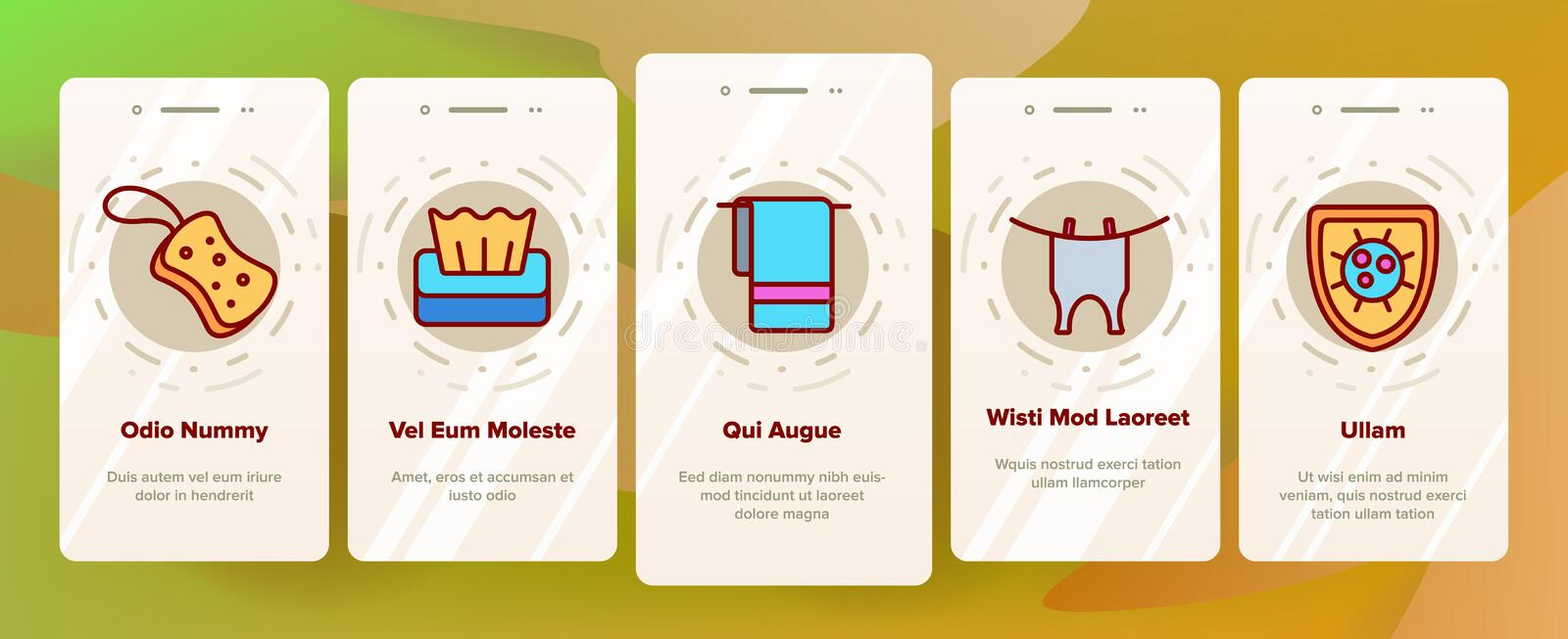 Hygiene, Cleaning Thin Line Icons Vector Onboarding stock illustration