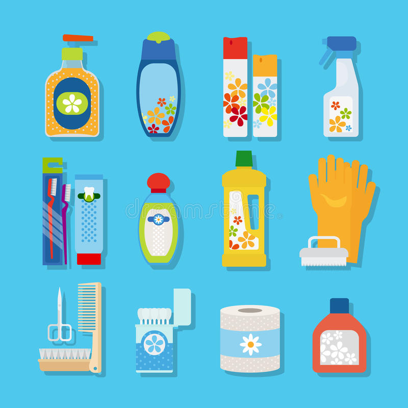 Hygiene and cleaning products flat icons. Vector hygiene and cleaning products flat icons. Cleaner and toilet paper, toothpaste and deodorant stock illustration