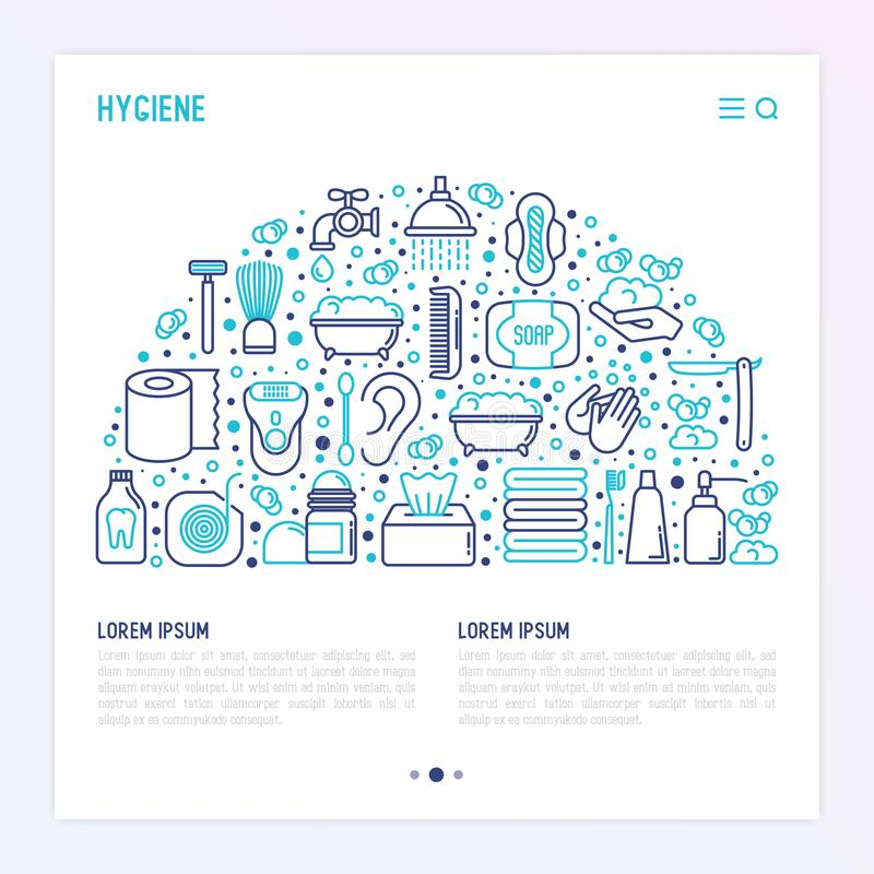 Hygiene concept in half circle vector illustration