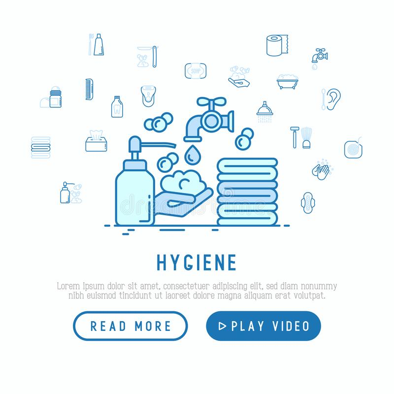 Hygiene concept: wash your hands with soap. And thin line icons: shower, bathtub, toothpaste, razor, shaving brush, comb, ball deodorant, mouth rinse. Vector vector illustration