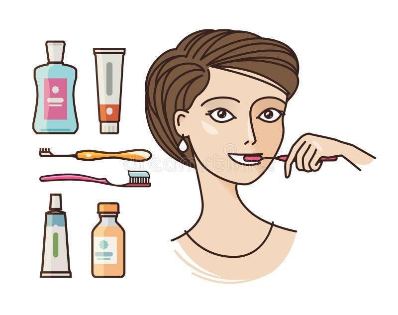 Hygiene der Mundhöhle Auftragende Zähne des schönen Mädchens Zahnpasta, Zahnbürste, Mundwasser, Ikone der persönlichen Hygiene od lizenzfreie abbildung