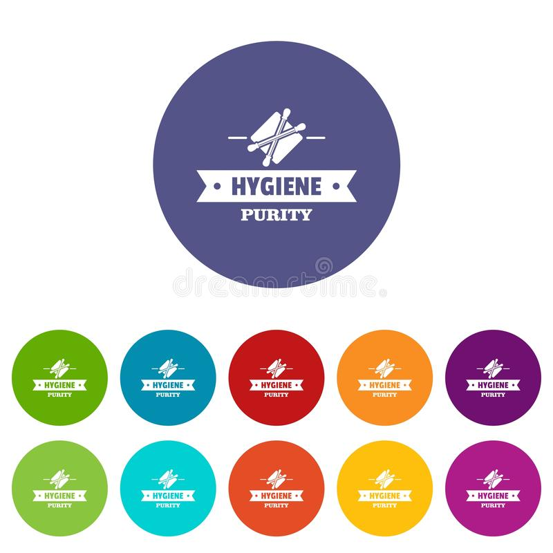 Hygiene ear icons set vector color. Hygiene ear icons color set vector for any web design on white background royalty free illustration