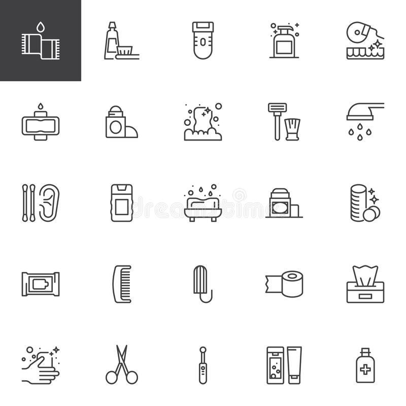 Hygiene elements outline icons set. Linear style symbols collection, line signs pack. vector graphics. Set includes icons as Towel, Toothbrush and toothpaste royalty free illustration