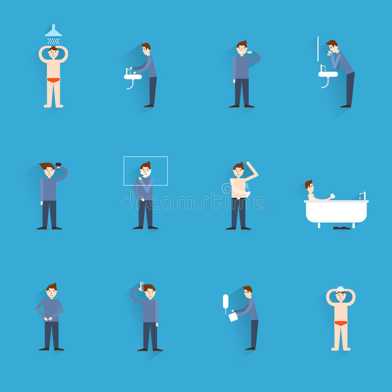 Hygiene icons flat. Set with people figures washing body cleaning isolated vector illustration royalty free illustration