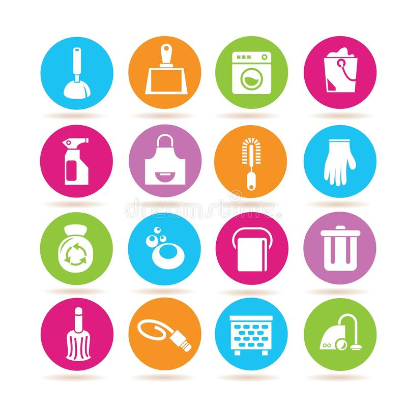 Hygiene icons. Set of 16 hygiene icons in colorful buttons stock illustration
