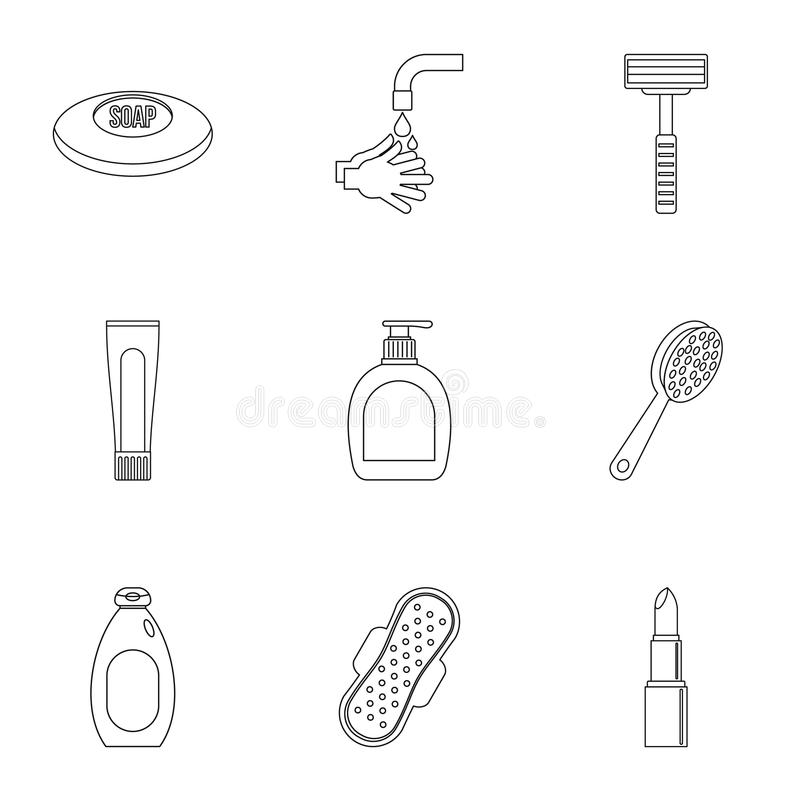 Hygiene icons set, outline style. Hygiene icons set. Outline set of 9 hygiene vector icons for web isolated on white background stock illustration