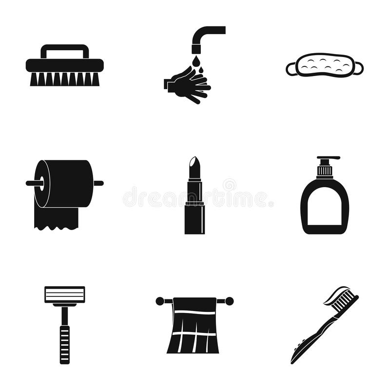 Hygiene icons set, simple style. Hygiene icons set. Simple set of 9 hygiene vector icons for web isolated on white background vector illustration