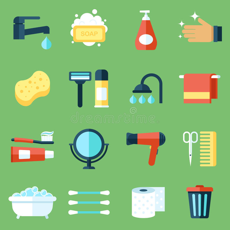 Hygiene icons. Vector set of personal hygiene icons. Flat design style stock illustration