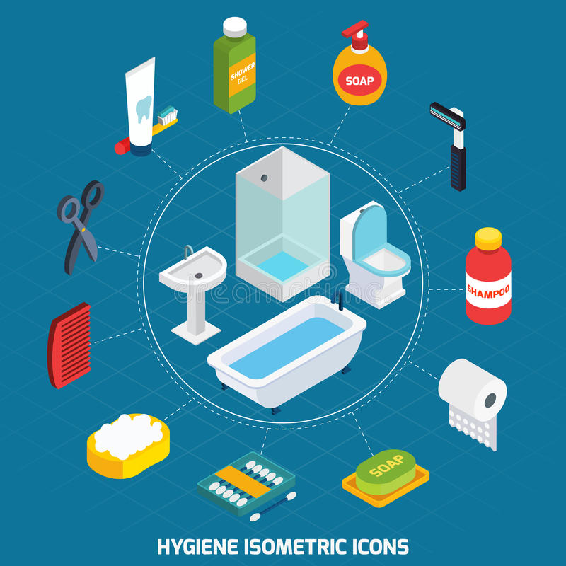 Hygiene Isometric Icons Set. With bathroom equipment and toiletries vector illustration royalty free illustration