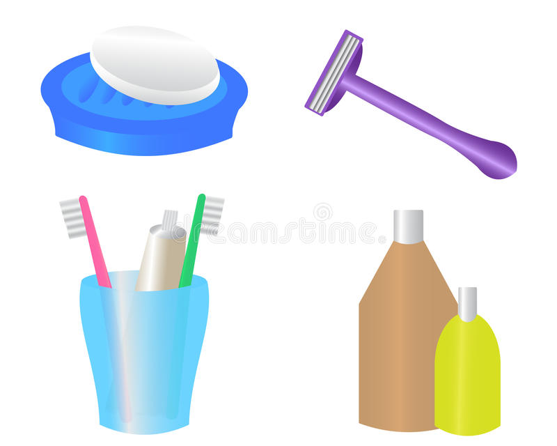 Download Hygiene items stock vector. Illustration of blue, container - 25679053