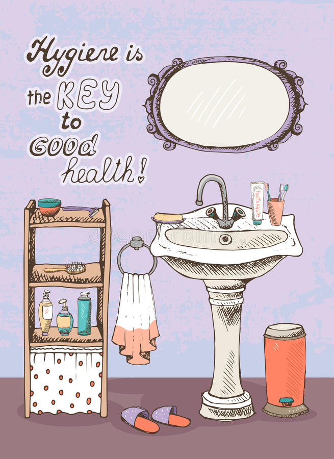 Hygiene is a key to good health. Motivational message on the wall of a bathroom interior with a hand basin below a wall mirror and shelves containing vector illustration