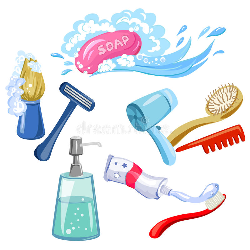 Hygiene, personal care, items. Vector illustration royalty free illustration
