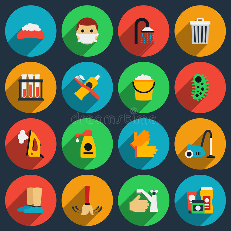 Hygiene and sanitation vector flat icons set. Hygiene clean icon, sanitation housework icon illustration stock illustration