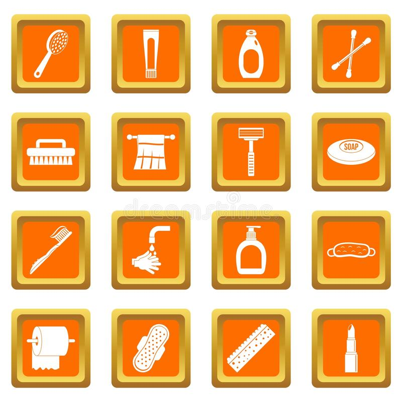 Hygiene tools icons set orange. Hygiene tools icons set in orange color isolated vector illustration for web and any design royalty free illustration