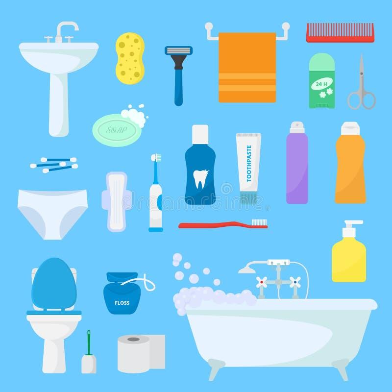 Hygienekörperpflege-Vektortoilettenartikel stellen von den hygienischen Badprodukten ein und Badezimmerzubehör seift Shampoo oder stock abbildung