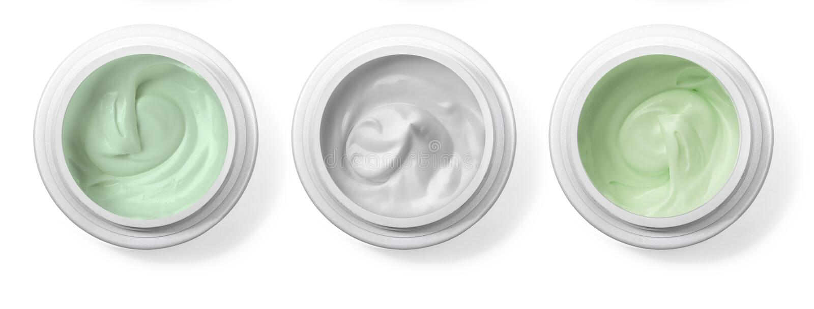 Hygienic cream, top view. Isolated on white background stock images