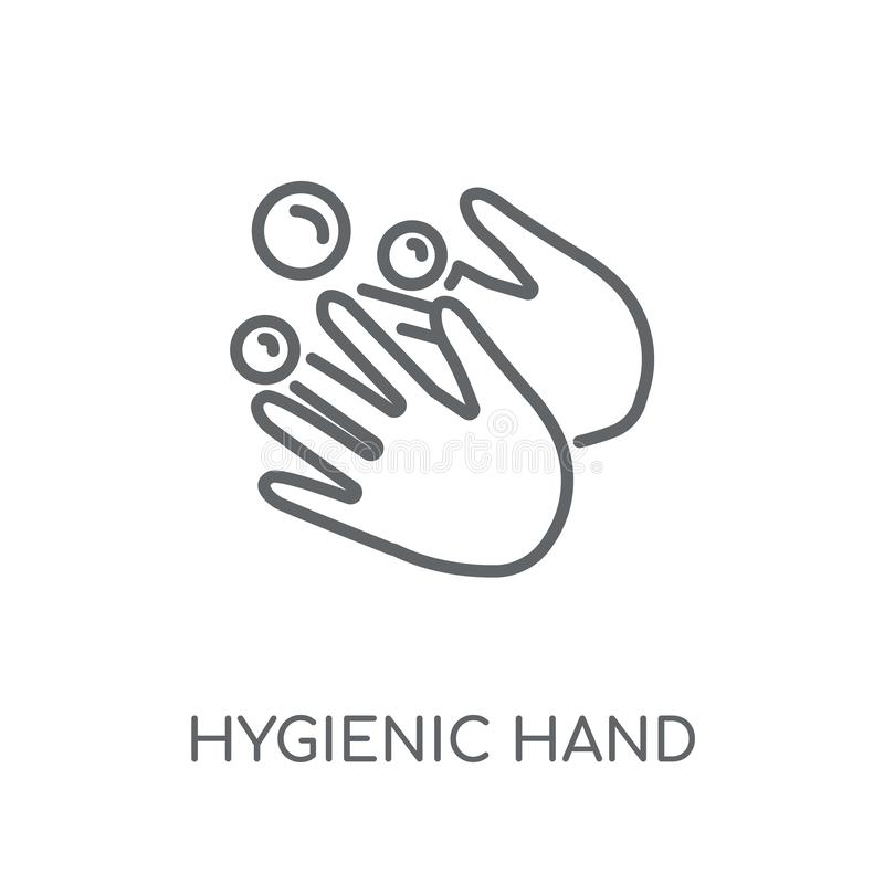 Hygienic hand linear icon. Modern outline Hygienic hand logo con royalty free illustration