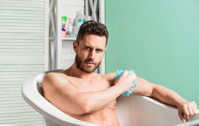 Hygienic procedure concept. Total relaxation. Bathing can improve heart health. Personal hygiene. Take care hygiene. Cleaning parts body. Hygiene concept. Man stock photos