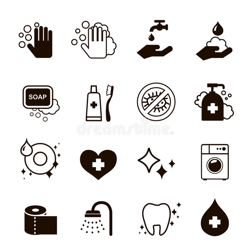Hygiensymbolsuppsättning stock illustrationer
