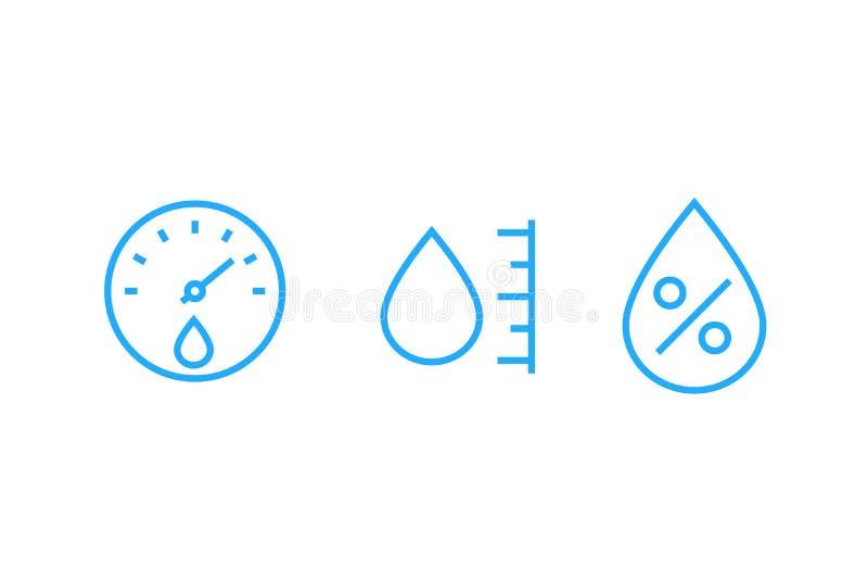 Hygrometer, pictogrammen van de vochtigheids de vectorlijn stock illustratie