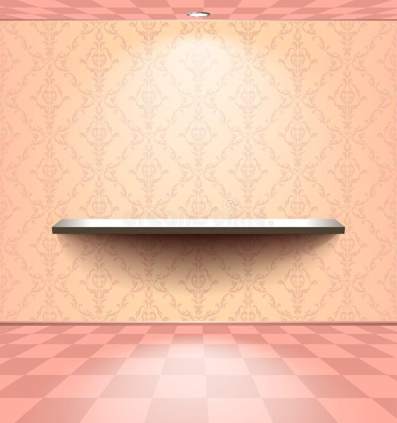 Hylla i det rosa rummet stock illustrationer