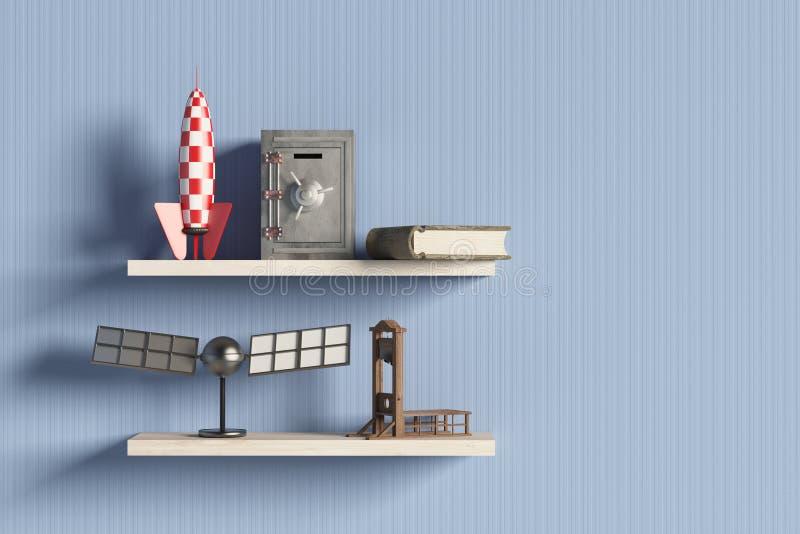 Hylla med objekt stock illustrationer