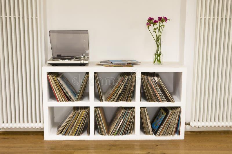 Hylla med vinylrekord royaltyfri bild