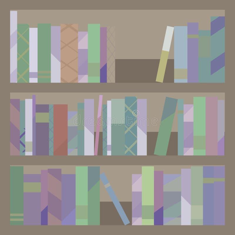 Hyllor för bokarkivträbruna skåp tre med denfärgade bok- och tidskriftvektorillustrationen stock illustrationer