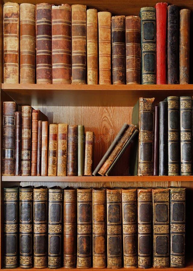 Hyllor med antika böcker i arkiv royaltyfri foto