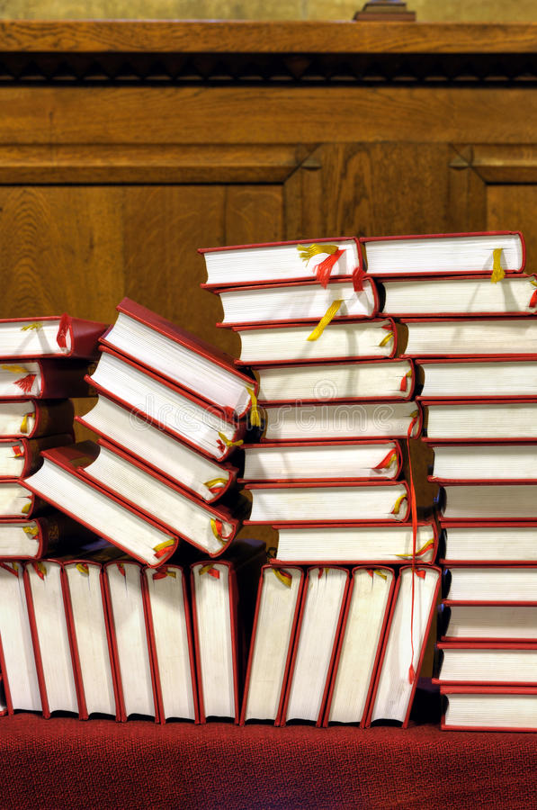 Hymnals and prayer books - stack stock photos