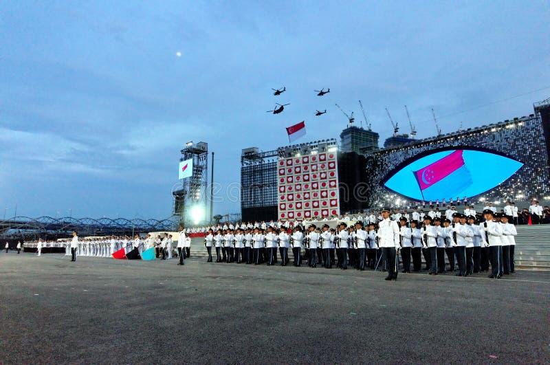 Hymne national de Singapour pendant le NDP 2009 photo stock