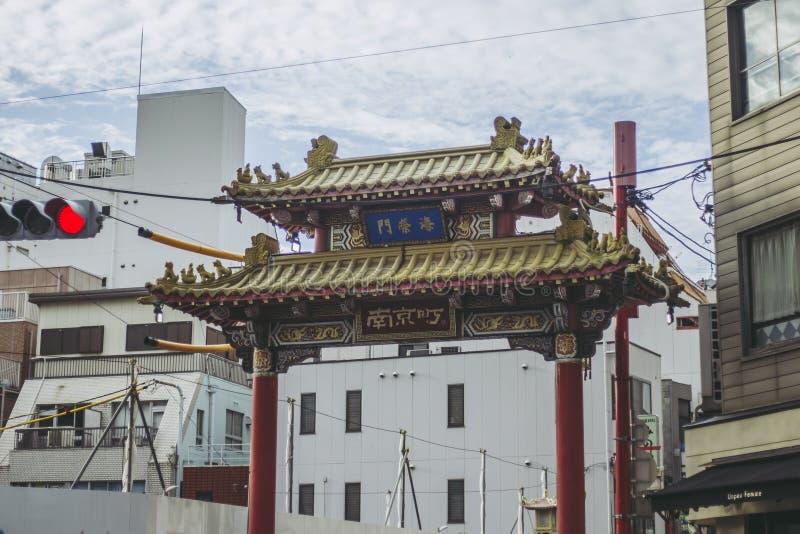 Hyogo Japan - September 23, 2018: Kobe Chinatown Nankinmachi är en kompakt kineskvarter arkivbild