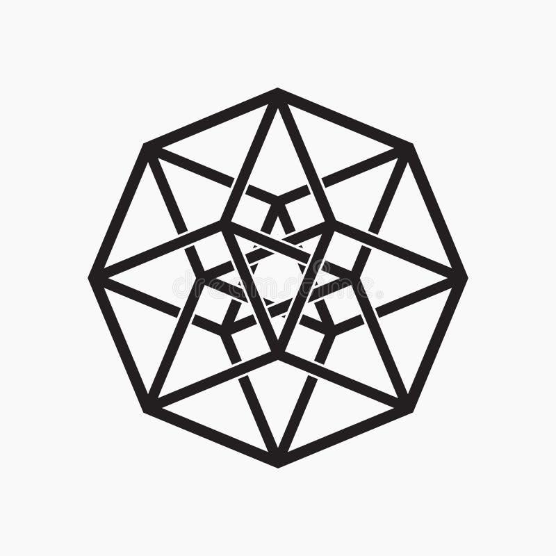 Hypercube, geometrisch element stock illustratie