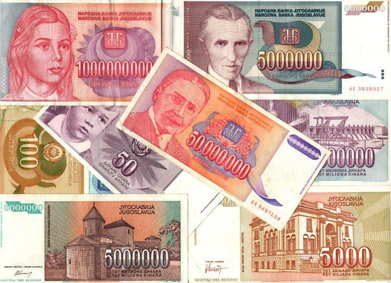 Hyperinflation of Yugoslavian dinar banknotes royalty free stock image