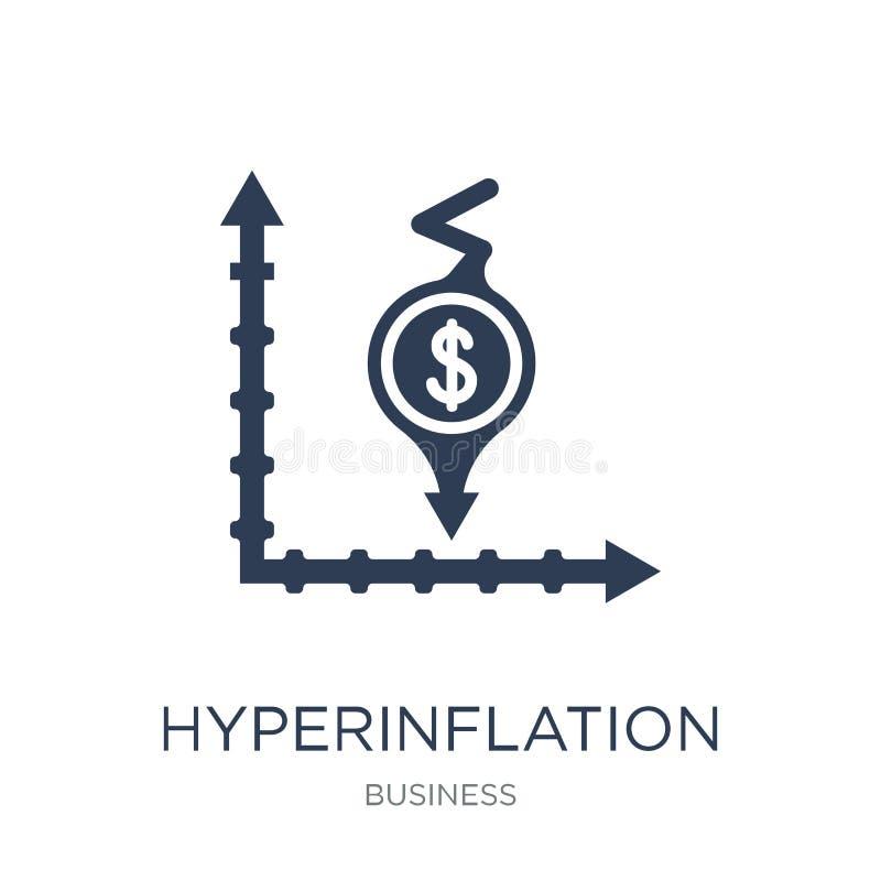 Hyperinflationsymbol Moderiktig plan vektorHyperinflationsymbol på w royaltyfri illustrationer