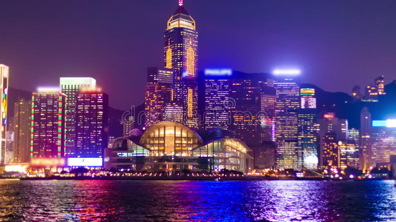 Hyperlapse video of Hong Kong from day to night. Hyperlapse video of the Victoria Harbour in Hong Kong from day to night stock video