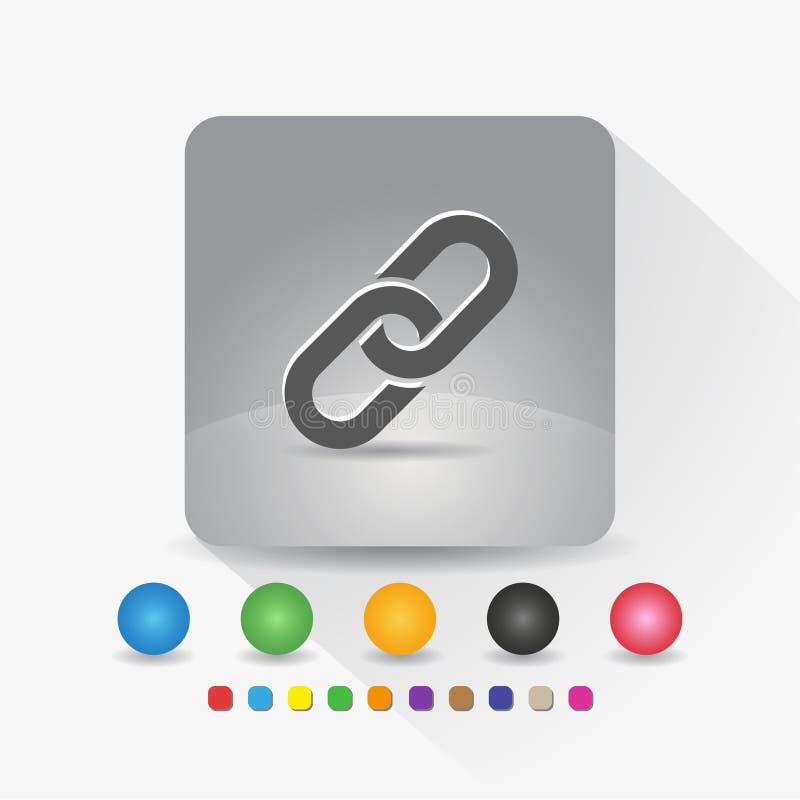 Hyperlinkkettenikone Zeichensymbol App in der runden Ecke der grauen quadratischen Form mit langer Schattenvektorillustration und lizenzfreie abbildung